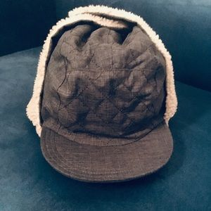 LL BEAN Winter Hat With Flaps gray and tan